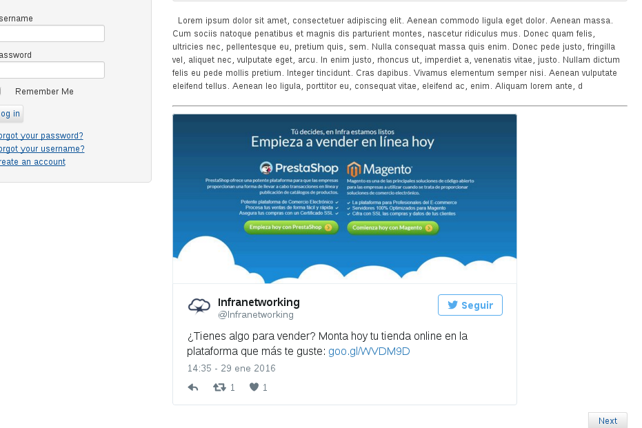 incluir tweets de twitter a joomla